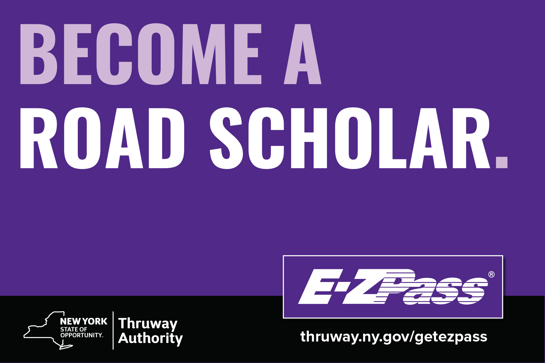 ezpass postcard ad become a road scholar